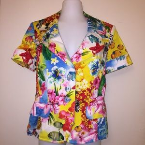 Escada Tropical Print Short Sleeve Blazer
